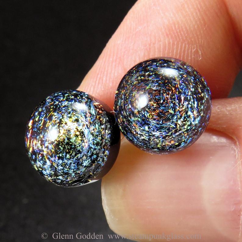 Tiny 3D multicoloured space galaxy earrings V1 handmade glass stud lampwork ear posts