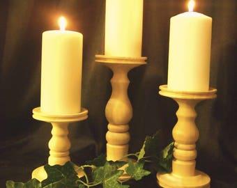 Unfinished Pillar Candle Holders - Set of 3