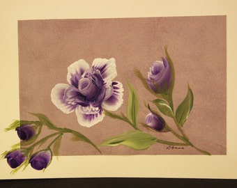 Hand Painted Purple Rose Card