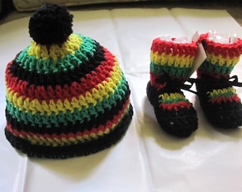 Summer Cotton One Love Rasta Baby Beanie Booties Shower Gift Spring Crochet  Black Red Yellow Green Stripes Jamaica Bob Marley Reggae 873df94fd46