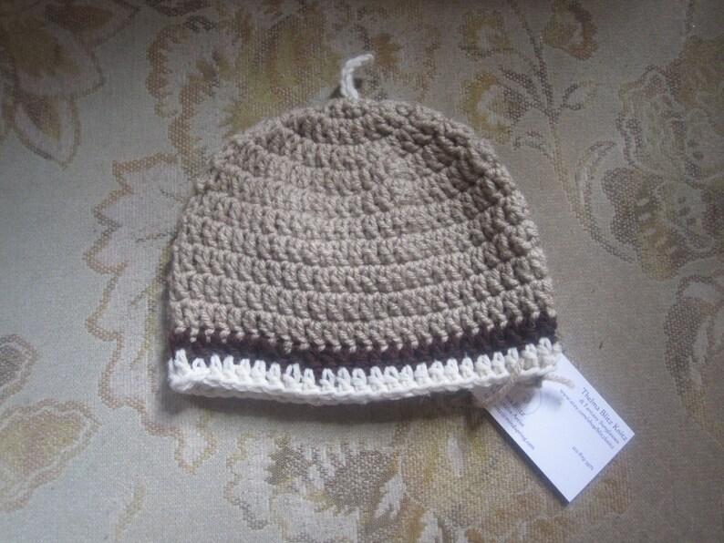 043ad0a7f5f Beige Crochet Baby Beanie Unisex 0 - 6 months Hat Cap