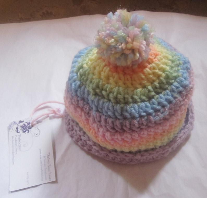 3d2d836a Dreamy Soft Pastel Rainbow Baby Girl Pom Pom Crochet Beanie | Etsy