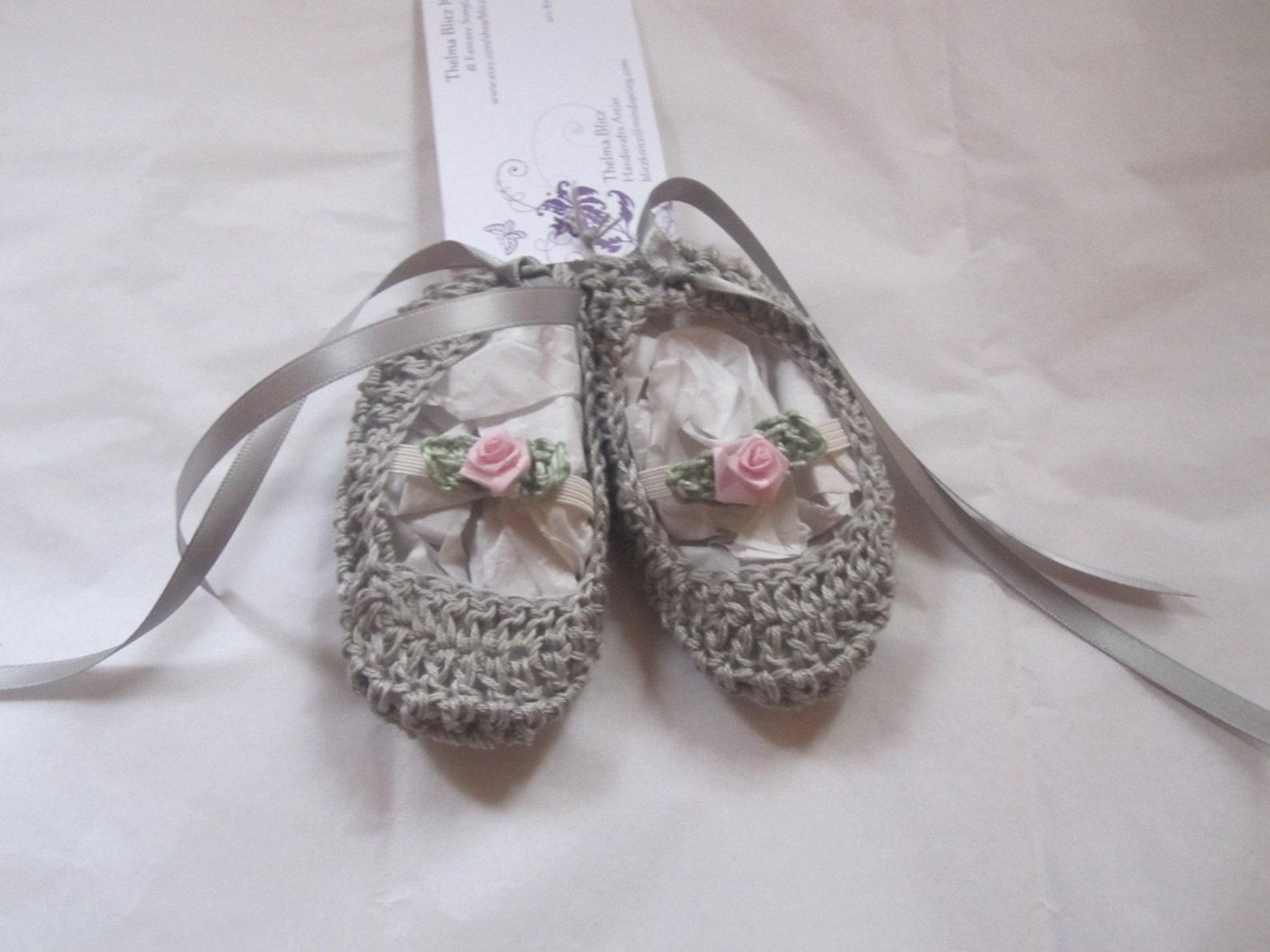pink cotton crochet baby girl ballet slipper booties rose trim ribbons 0 -6 months