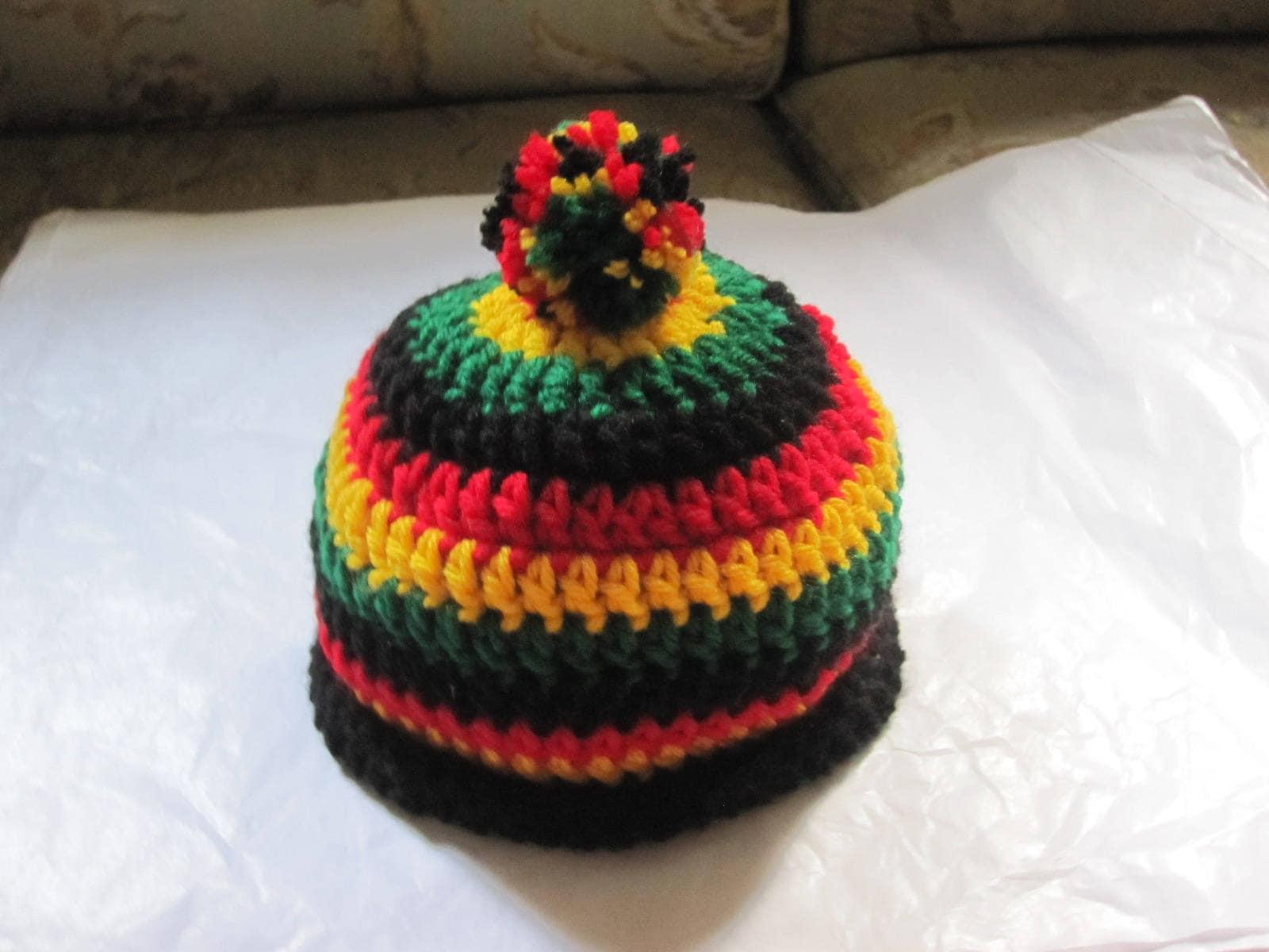 Rasta Baby Beanie Cap Hat Crochet 0 6 Mo Unisex Infant Etsy