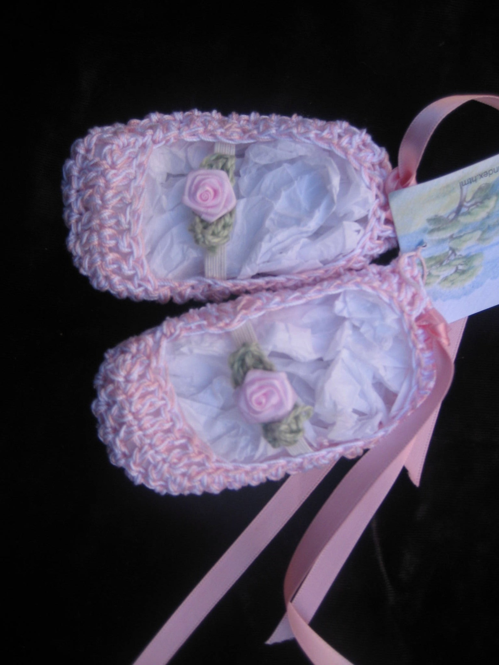 crocheted infant or baby booties ballet shoes