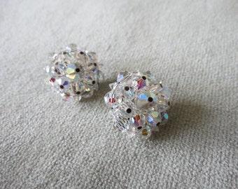 Vintage Aurora Borealis Crystal Cluster Earrings / 1950s