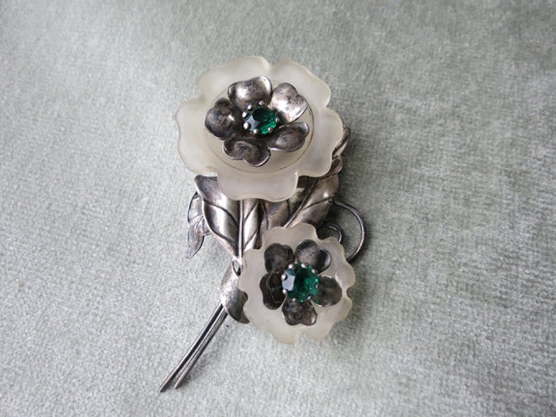Frosted Glass and Green Glass Brooch  1940s Vintage Carl Art Silver