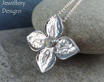 Green Amethyst Dappled Flower Sterling Silver Pendant - Gemstone Four Petal Flower - Handmade Metalwork - Garden Themed Floral Collection