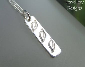 Leaf Trio Textured Sterling Silver Bar Pendant - Hand Stamped Metalwork Necklace - Shiny Leaves