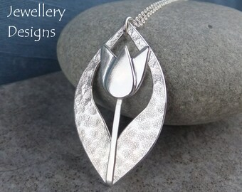 Textured Tulip Drop Sterling Silver Pendant - Flower Necklace - Handmade Metalwork Floral Jewelry Jewellery - Garden Themed Collection