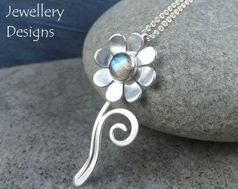 Labradorite Daisy Flower & Swirl Sterling Silver Pendant -  Handmade Metalwork Wirework Gemstone Jewelry - Garden Floral Petals Blossom