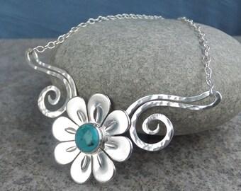 Turquoise Daisy Flower and Dappled Swirls Necklace - Gemstone Floral Garden Themed Jewellery - Handmade Metalwork Jewelry