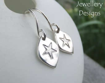 Stamped Star Drops Sterling Silver Earrings - Handmade Metalwork Hand Stamped Textured Jewelry - Bright Shiny