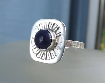 Lapis Lazuli Sterling & Fine Silver Sunburst Ring - Shiny or Oxidised - READY TO SHIP - size O / size 7.25 (can be re-sized larger)
