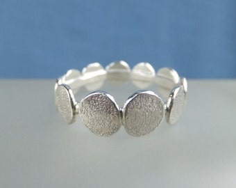 Stepping Stones - Sterling Silver Textured Pebbles Ring - Handmade Metalwork Organic Hammered Jewellery