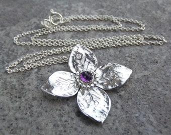 Amethyst Dappled Flower Sterling Silver Pendant - Gemstone Four Petal Flower - Handmade Metalwork - Garden Themed Floral Collection