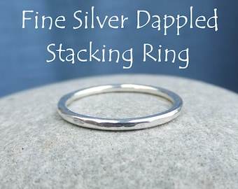 Fine Silver Stacking 1.5mm Ring - DAPPLED - Bright Silver or Oxidised - Textured Skinny Stacker - Handmade Metalwork Jewelry