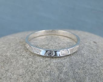 Fine Silver Leaves Textured 2mm Stacking Ring - LEAF - Bright Shiny Silver or Oxidised Skinny Stacker - Handmade Hand Stamped Metalwork