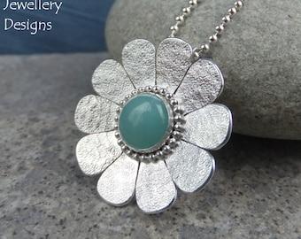 Amazonite Textured Daisy Sterling Silver Pendant - Gemstone Flower - Handmade Metalwork Wirework - Garden Floral Petals