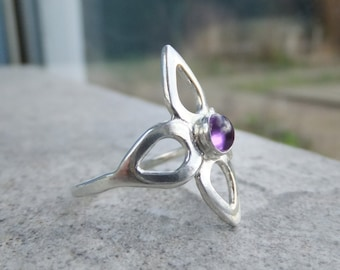Amethyst Fine Silver Flower Ring - Wraparound Ring - Handmade Metalwork - Floral Blossom Flower Ring - READY TO SHIP size O / size 7.25