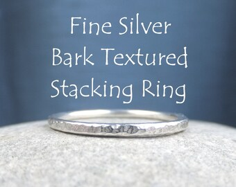 Fine Silver Stacking 1.5mm Ring - BARK TEXTURED - Bright Silver or Oxidised - Hammered Skinny Stacker - Handmade Metalwork Jewelry