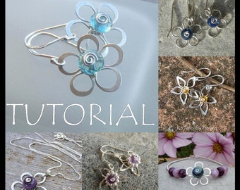 Wire Jewelry Tutorial - WIRE FLOWERS (4 variations, earrings & pendants) - Step by Step Wire Wrapping Wirework - Instant Download
