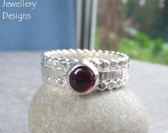 Garnet Sterling & Fine Silver Stacking Ring Trio - Gemstone Stacker Ring Set - Beaded Wire Rings - READY TO SHIP - size S / size 9.25