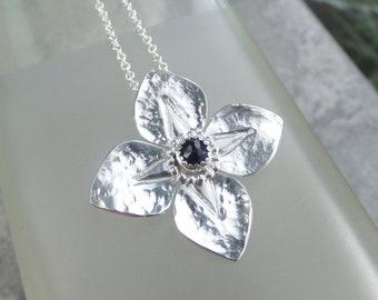 Iolite Dappled Flower Sterling Silver Pendant - Gemstone Four Petal Flower - Handmade Metalwork - Garden Themed Floral Collection