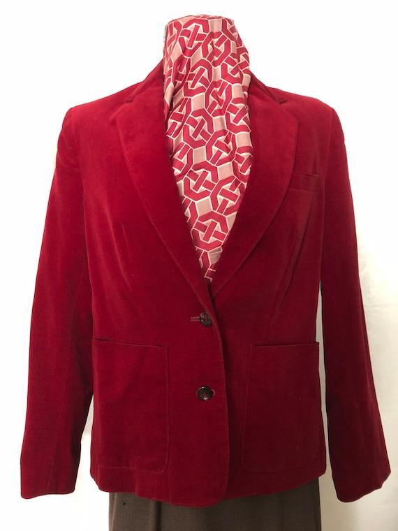 Red Velvet Blazer Jacket Size Medium Vintage 80s - image 2