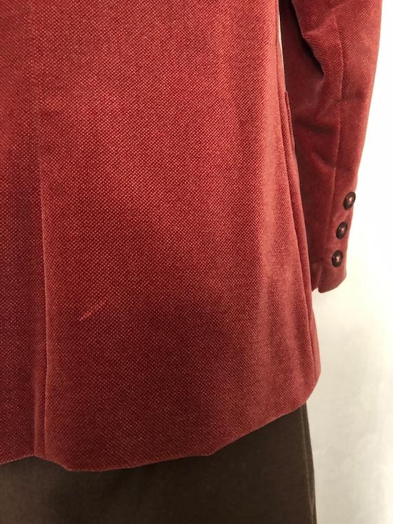 Blazer Jacket Dusty Rose Red Velvet Size Small Vi… - image 6