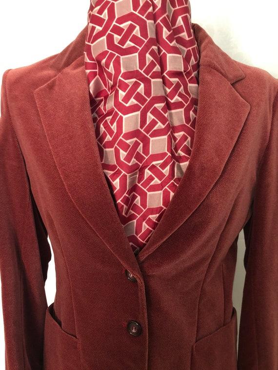 Blazer Jacket Dusty Rose Red Velvet Size Small Vi… - image 3