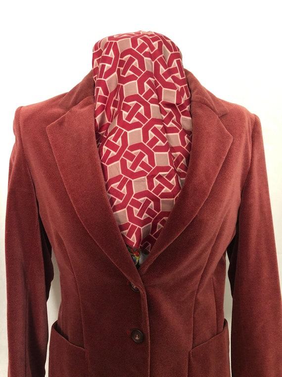 Blazer Jacket Dusty Rose Red Velvet Size Small Vi… - image 2