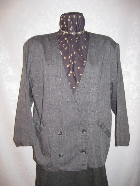 Gray Tweed Boxy Blazer Jacket Lightweight Shantung
