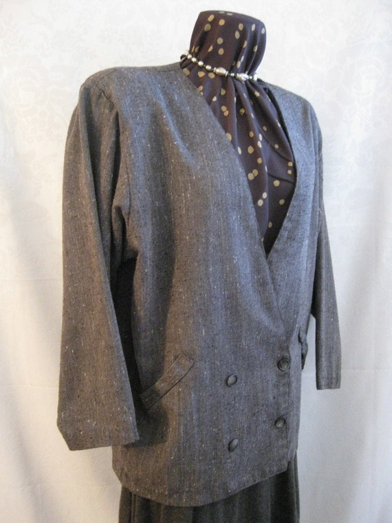 Vintage 80s Gray Lightweight Tweed Boxy Blazer Jac