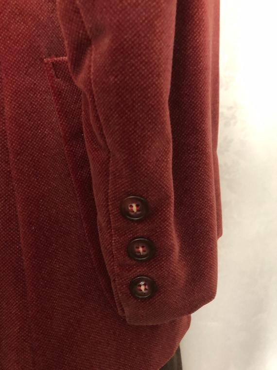 Blazer Jacket Dusty Rose Red Velvet Size Small Vi… - image 10