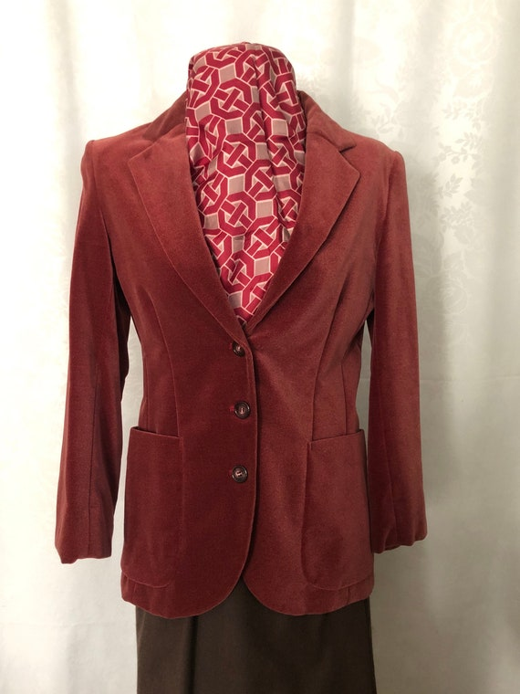 Blazer Jacket Dusty Rose Red Velvet Size Small Vi… - image 1