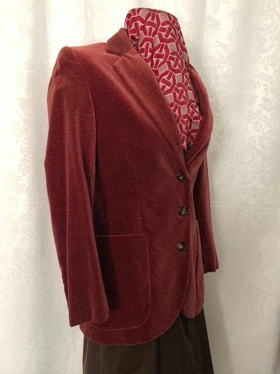 Blazer Jacket Dusty Rose Red Velvet Size Small Vi… - image 8