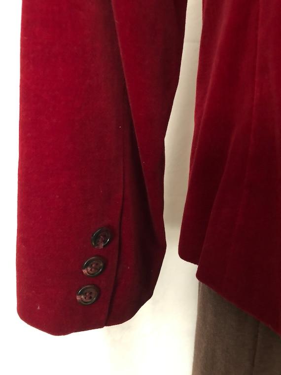 Red Velvet Blazer Jacket Size Medium Vintage 80s - image 6