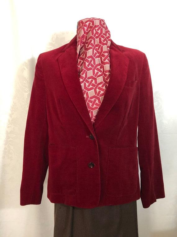 Red Velvet Blazer Jacket Size Medium Vintage 80s - image 9