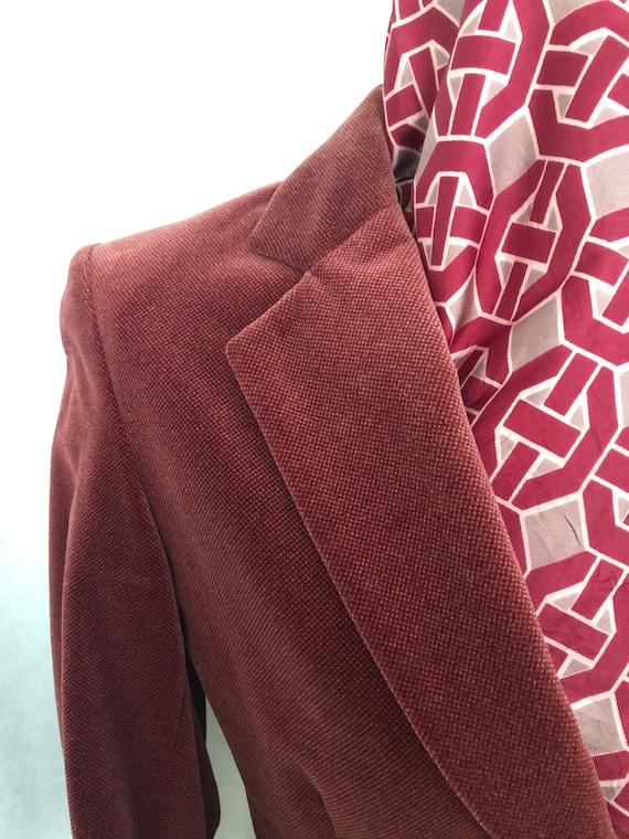 Blazer Jacket Dusty Rose Red Velvet Size Small Vi… - image 4