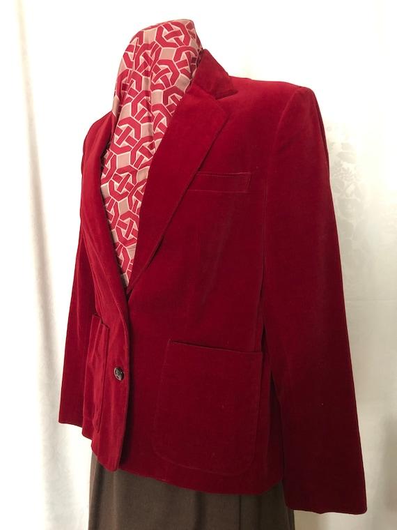 Red Velvet Blazer Jacket Size Medium Vintage 80s - image 7