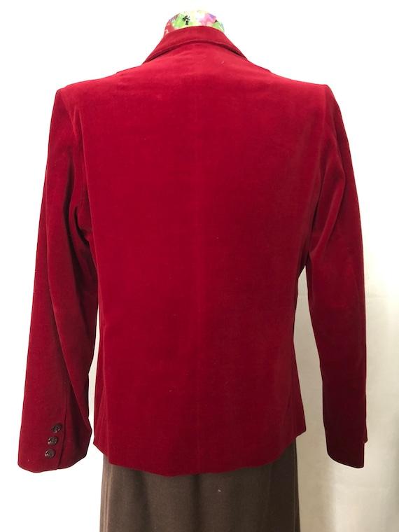 Red Velvet Blazer Jacket Size Medium Vintage 80s - image 8