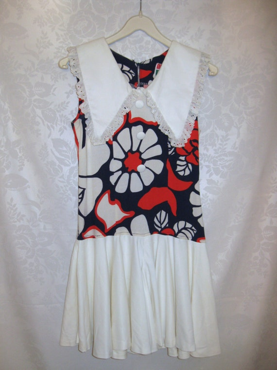 Mod Flower Power Culotte Dress Red White and Blue