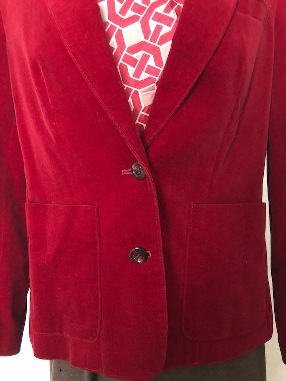 Red Velvet Blazer Jacket Size Medium Vintage 80s - image 4