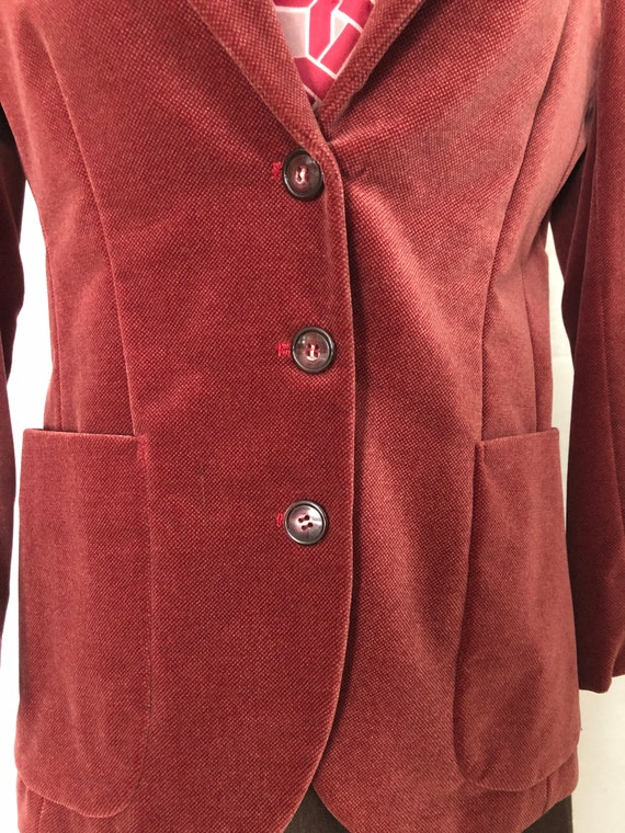 Blazer Jacket Dusty Rose Red Velvet Size Small Vi… - image 5