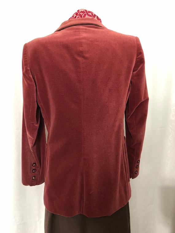 Blazer Jacket Dusty Rose Red Velvet Size Small Vi… - image 9