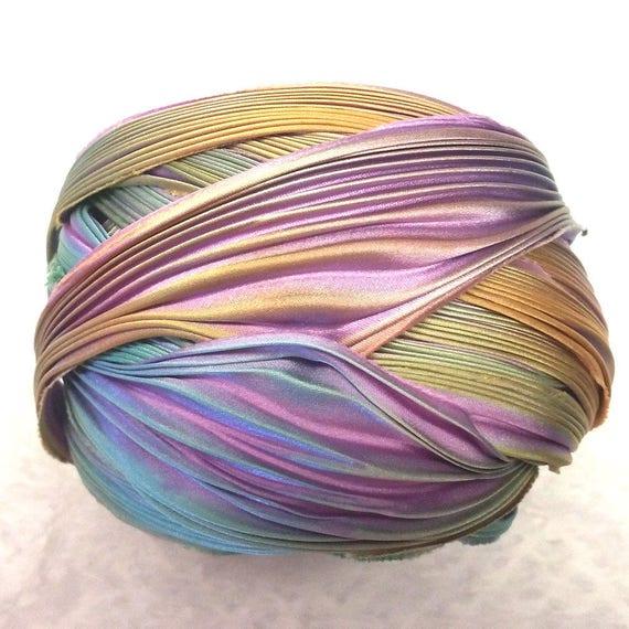 Shibori, 1yd ruban teint teint ruban soie Shibori ruban lavande Bor plus lumineux Shibori fille 112621