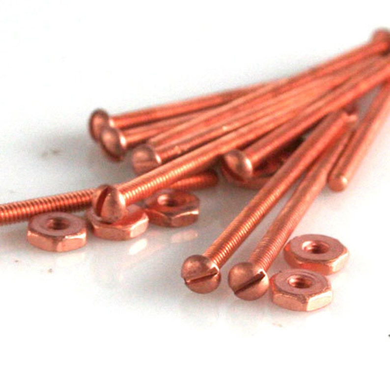 Long Copper Plated Brass Round Head Screw and Nut 10 sets