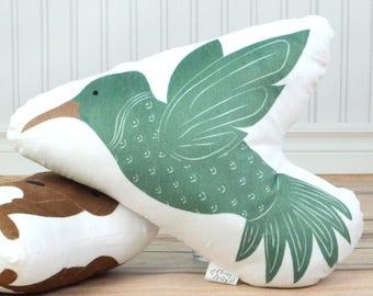 Woodland Nursery Crib Bedding. Animal Pillow, Hummingbird Stuffed Animal. Baby Nursery Decor, Kids Throw Pillow. Animal Plushie, Baby Toys.