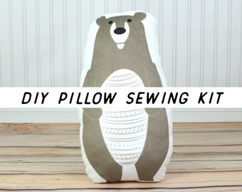 Stuffed Bear DIY Kit. Woodland Animal Nursery Decor. Cut and Sew Pillow Sewing Kit. Grizzly Bear Pillow DIY Kit. Beginner Sewing Project.